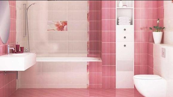 keramik kamar mandi pink