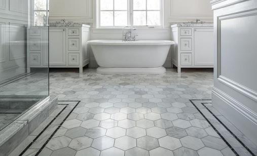 keramik lantai kamar mandi hexagonal
